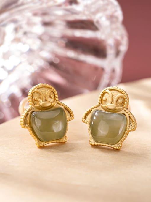 Blue jade (a pair) 925 Sterling Silver Jade Irregular  penguin Cute Stud Earring