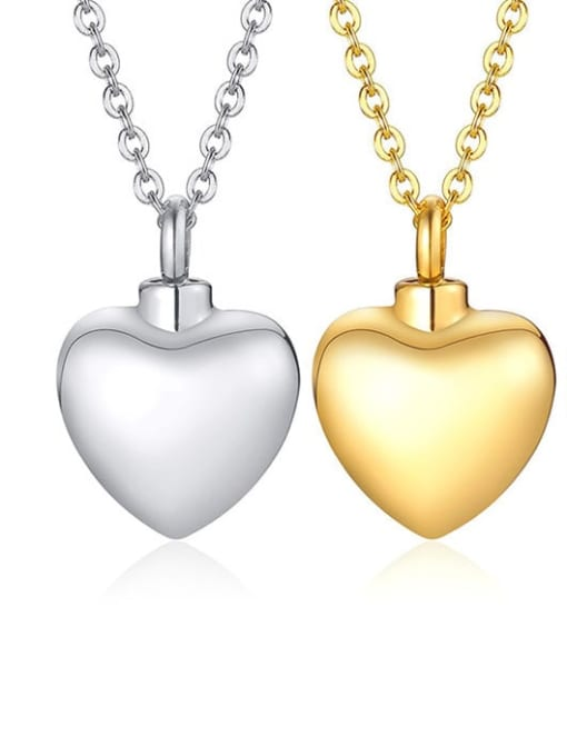 CONG Titanium Steel Smooth Heart Minimalist  Pendant Necklace 0