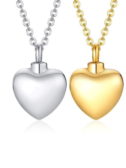CONG Titanium Steel Smooth Heart Minimalist  Pendant Necklace