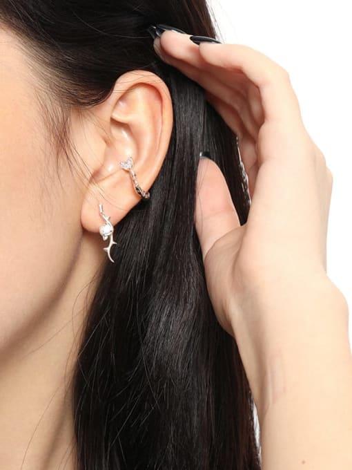 DAKA 925 Sterling Silver Rhinestone Geometric Vintage Stud Earring 2