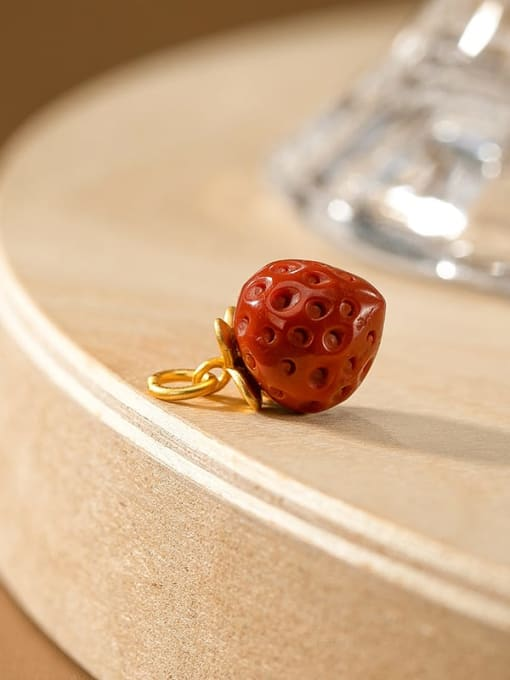 No.2 (excluding chain) 925 Sterling Silver Carnelian Cute Friut  Strawberry Pendant