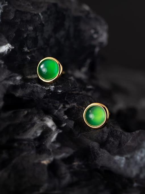 Rosh 925 Sterling Silver Cats Eye Geometric Minimalist Stud Earring 2