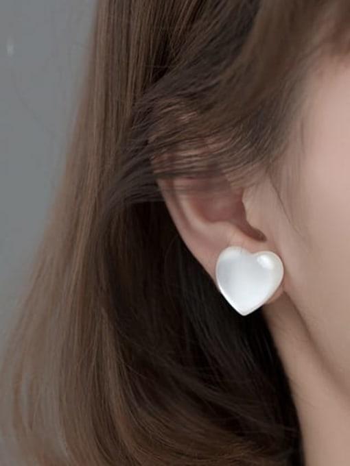Rosh 925 Sterling Silver Cats Eye Heart Minimalist Stud Earring 3
