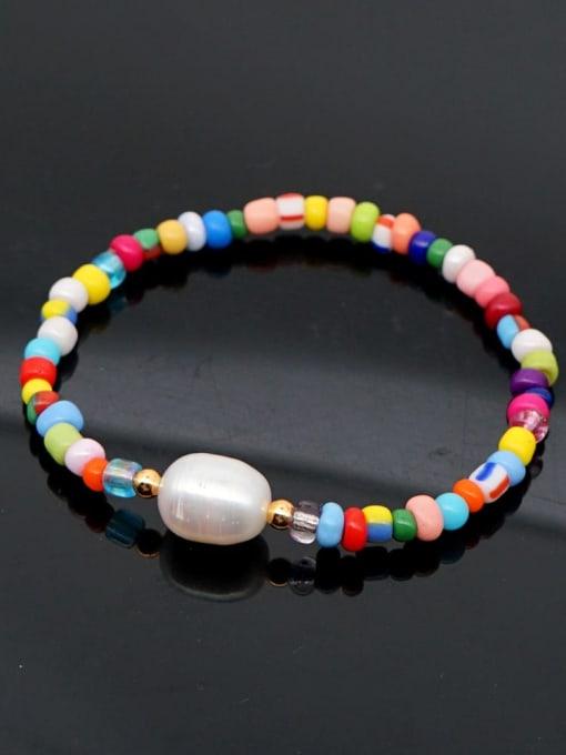 QT B200032D Stainless steel Freshwater Pearl Multi Color Geometric Bohemia Stretch Bracelet