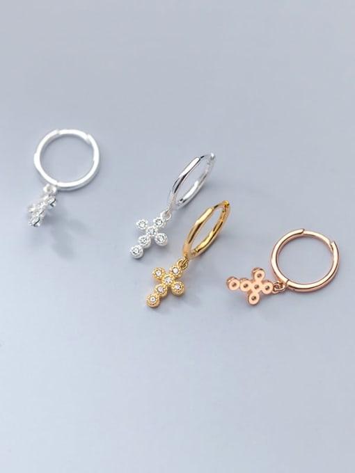 Rosh 925 Sterling Silver Cubic Zirconia Cross Minimalist Huggie Earring 1