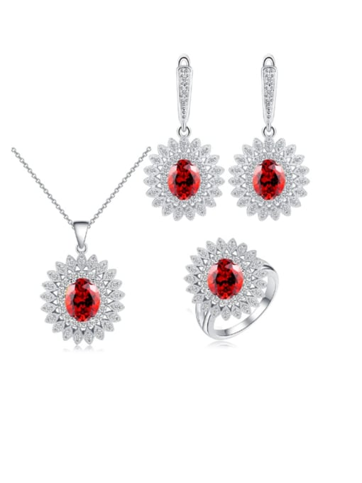 Red ring size 8 Brass Cubic Zirconia  Dainty Geometric Earring Ring and Necklace Set