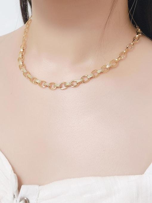 CC Brass Hollow Geometric Minimalist Necklace 1