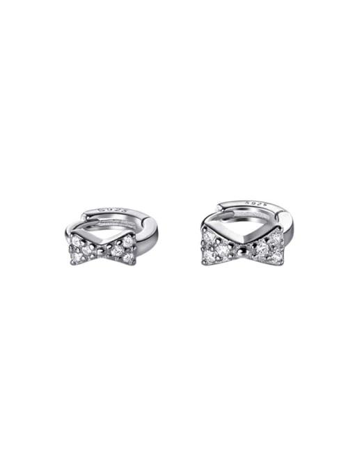 Rosh 925 Sterling Silver Cubic Zirconia Bowknot Minimalist Huggie Earring 2