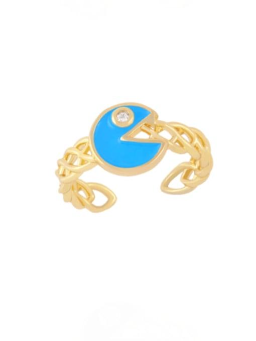 blue Brass Enamel Geometric Vintage Band Ring