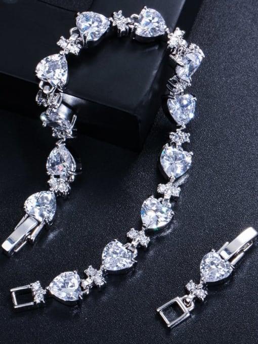 L.WIN Brass Cubic Zirconia Heart Classic Bracelet 3