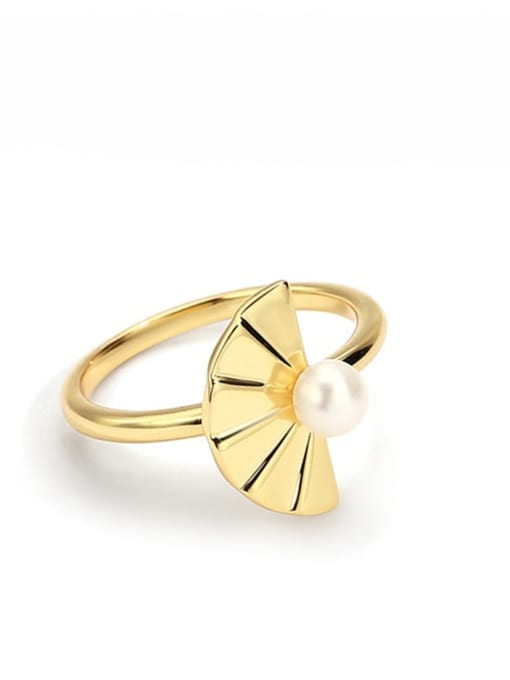 CHARME Brass Imitation Pearl Irregular Minimalist Band Ring 1