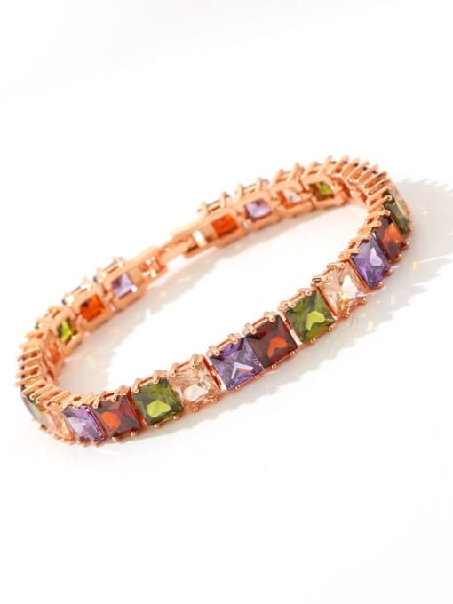 DUDU Brass Multi Color Geometric Cubic Zirconia  Dainty Bracelet 2