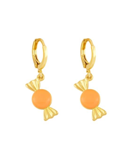 orange Brass Enamel Irregular Candy Trend Huggie Earring