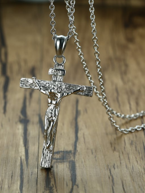 CONG Stainless steel Rhinestone Cross Vintage Regligious Necklace 3