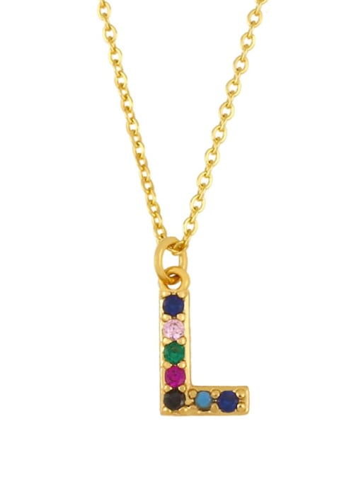 L Brass Cubic Zirconia Letter Vintage Necklace