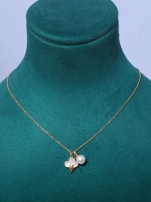 cloud Brass Freshwater Pearl Cloud Minimalist Necklace