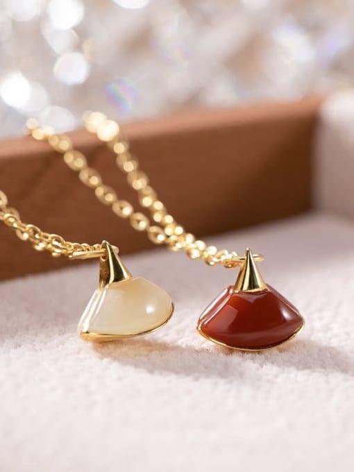 DEER 925 Sterling Silver Jade Triangle Vintage Necklace