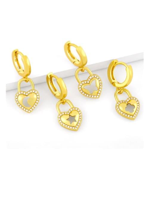 CC Brass Cubic Zirconia Star Vintage Huggie Earring
