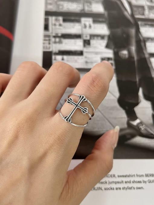 Boomer Cat 925 Sterling Silver Cross Minimalist Band Ring 1