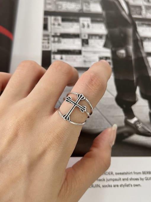 Cross ring j230 2.4G 925 Sterling Silver Cross Minimalist Band Ring
