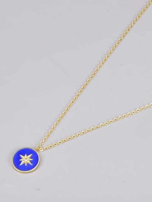 A TEEM Titanium Steel Enamel Round Vintage Necklace 2