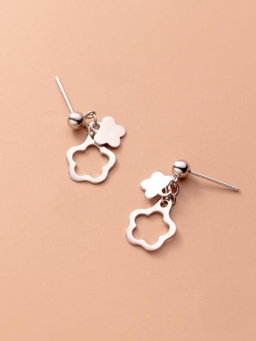 Rosh 925 Sterling Silver Flower Minimalist Drop Earring