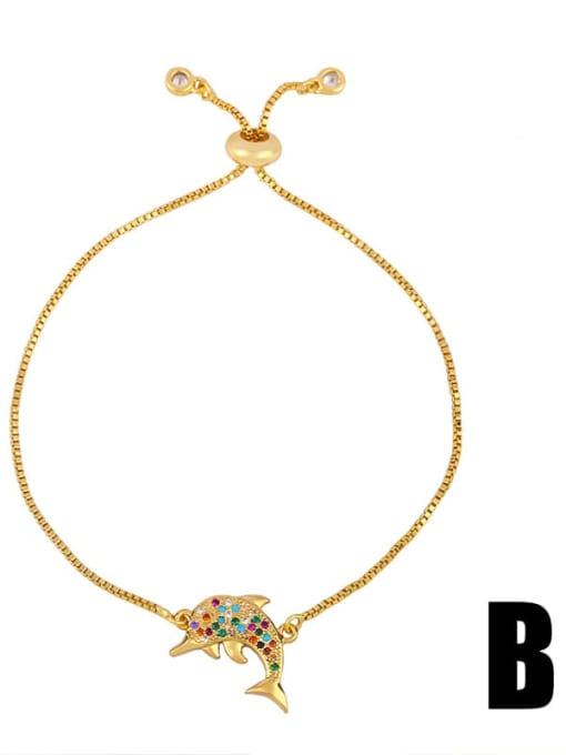 Brb94 B Brass Cubic Zirconia Turtle Cute Link Bracelet