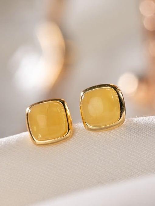 DEER 925 Sterling Silver Amber Square Minimalist Stud Earring 0
