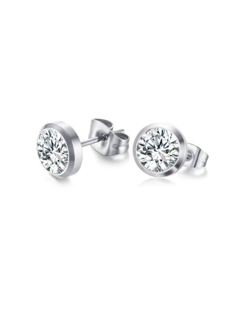 CONG Titanium Steel Rhinestone Geometric Minimalist Stud Earring 0