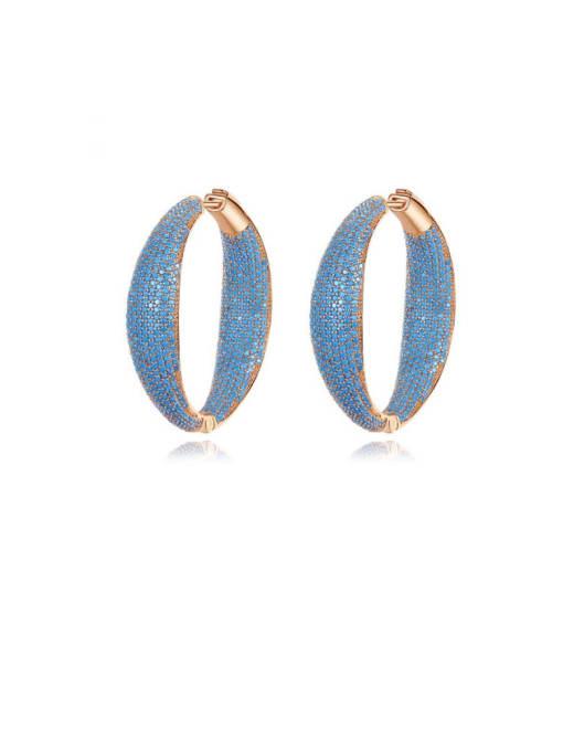 L.WIN Brass Cubic Zirconia Geometric Vintage Hoop Earring 0