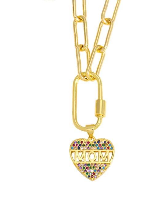 CC Brass Cubic Zirconia  Minimalist Letter Heart Pendant Necklace 2
