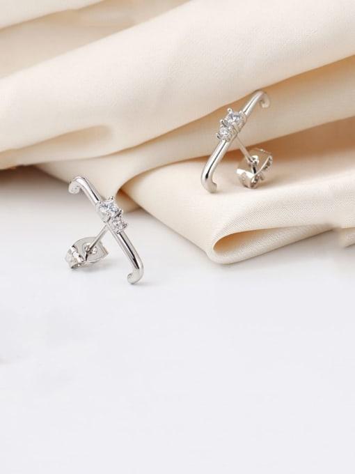 CHARME Brass Cubic Zirconia Geometric Minimalist Stud Earring 4