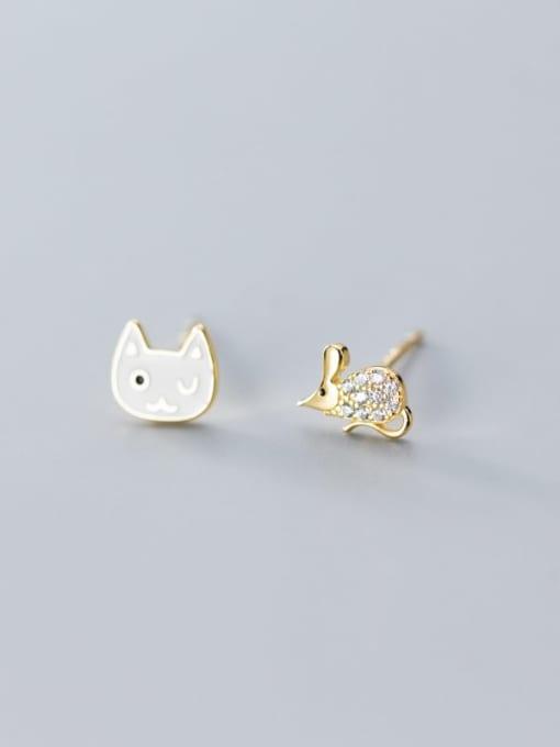 Rosh 925 Sterling Silver Rhinestone White Cat Cute Stud Earring 3