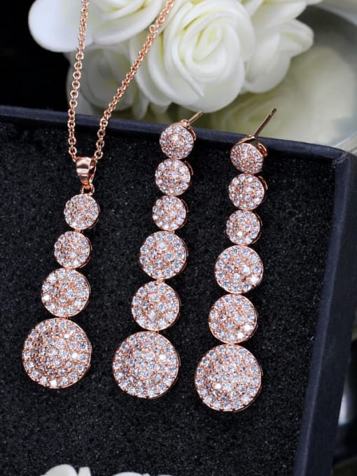 L.WIN Brass Cubic Zirconia Classic Geometric  Earring and Necklace Set