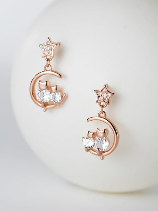 Rosh 925 Sterling Silver Cubic Zirconia Moon Dainty Drop Earring 1