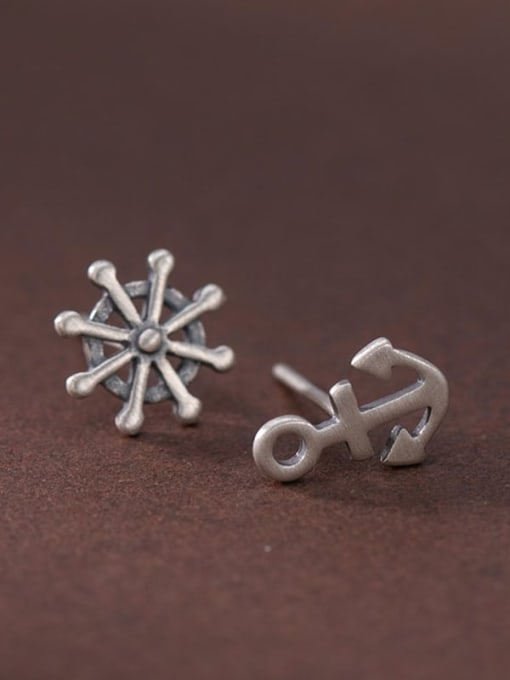 DEER 925 Sterling Silver Asymmetry Anchor Vintage Stud Earring 3
