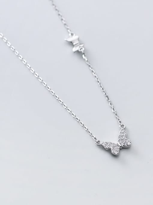 Rosh 925 Sterling Silver Rhinestone Butterfly Minimalist Necklace 3