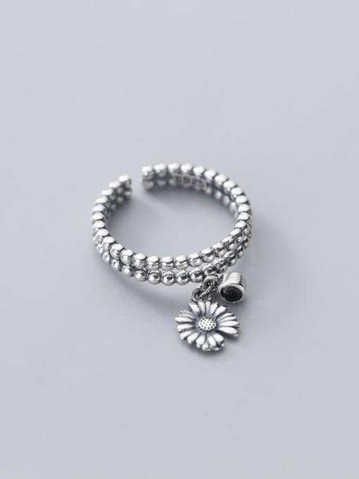 Rosh 925 Sterling Silver Bead Flower Vintage Band Ring