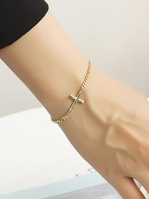 CHARME Brass Cross Minimalist Hollow  Chain Link Bracelet 2