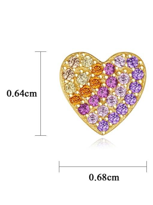 CCUI 925 Sterling Silver Cubic Zirconia Heart Dainty Stud Earring 3