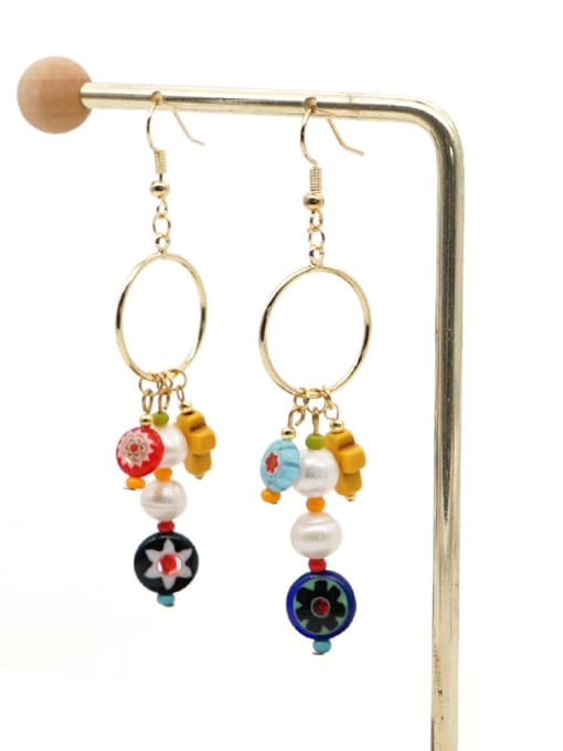 ZZ E200056B Stainless steel Freshwater Pearl Multi Color Glass beads Ethnic Long   Hook Earring