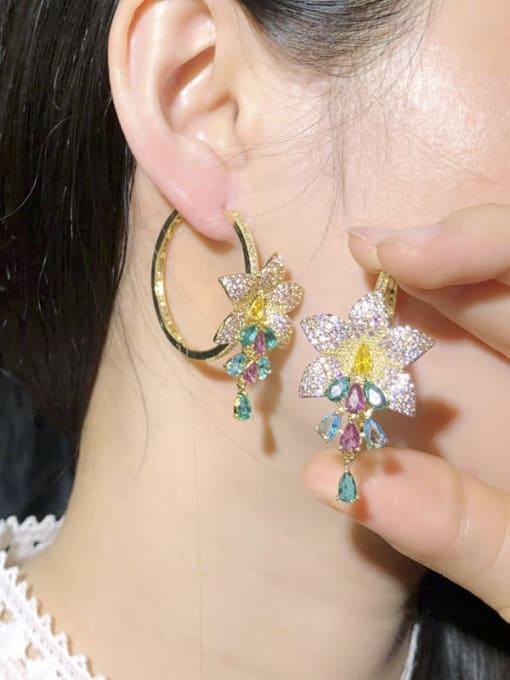 L.WIN Brass Cubic Zirconia Flower Luxury Cluster Earring 2