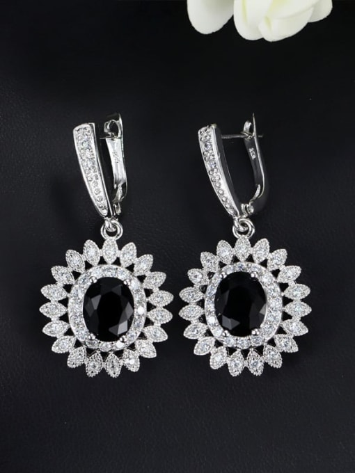 black Brass Cubic Zirconia Flower Luxury Huggie Earring