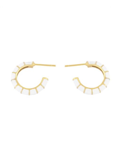white Brass Enamel Geometric Minimalist Stud Earring