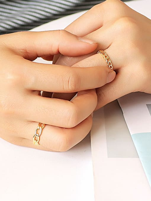 CHARME Brass Hollow Heart Minimalist Band Ring 2