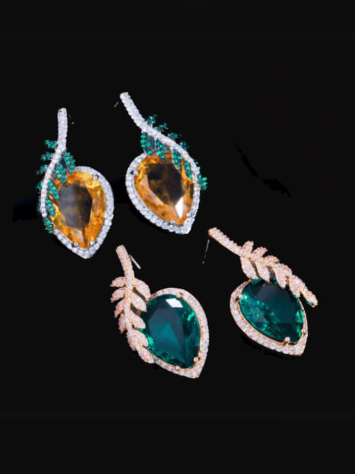 L.WIN Brass Cubic Zirconia Leaf Luxury Stud Earring 0