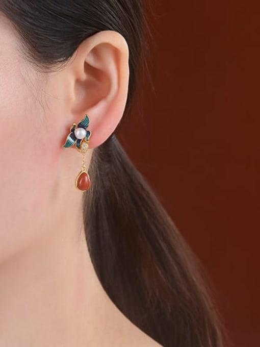 DEER 925 Sterling Silver Agate Enamel Flower Vintage Drop Earring 1