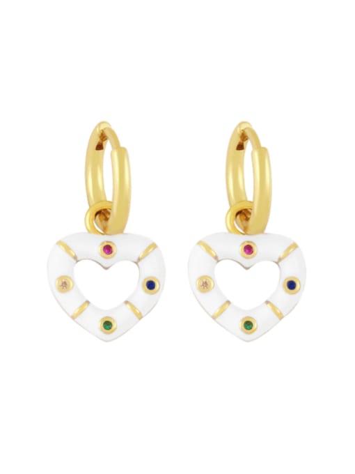 white Brass Enamel Heart Vintage Huggie Earring