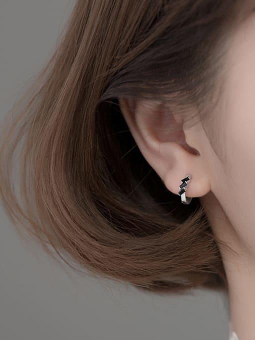 Rosh 925 Sterling Silver Cubic Zirconia Irregular Cute Huggie Earring 1