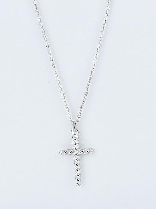 Platinum 925 Sterling Silver Cross Minimalist Pendant Necklace